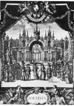 Frontispice du livret de Quinault - Chambre du palais d'Apollidon - Bérain - 1684