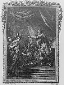 Agénor ordonne à Cadmus d'aller chercher sa soeur Europe enlevée par Jupiter - gravure de Moreau pour les Métamorphoses d'Ovide