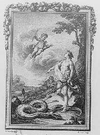 Apollon terrasse le Serpent Python - gravure de Moreau pour les Métamorphoses d'Ovide