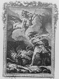 Cadmus tue le dragon sous la protection de Minerve - gravure de Moreau pour les Métamorphoses d'Ovide