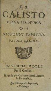 La Calisto - livret 1651
