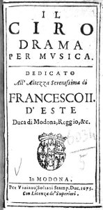 Il Ciro - livret - Modène - 1675
