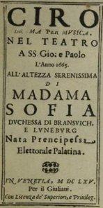 Il Ciro - livret de la reprise à Venise en 1665