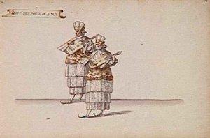 Récit des Parties du Nort - deux figures jouant de la mandoline - Daniel Rabel