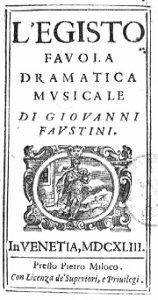 L'Egisto - livret - 1643 - première impression