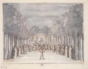 L'apparition de l'Ombre de Didon - dessin de Jean Berain à la plume