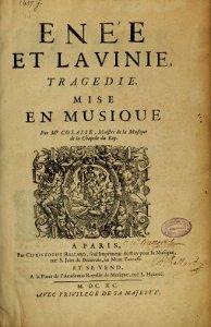 Enée et Lavinie - partition - 1690