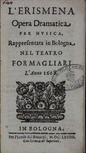 L'Erismena - livret - 1668 - Bologne