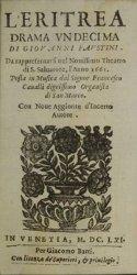 Eritrea - Livret de la reprise à Venise en 1661