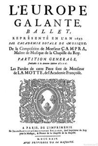 L'Europe galante - partition - 1724