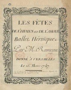 Les Feêts de l'Hymen et de l'Amour - partition - 1747