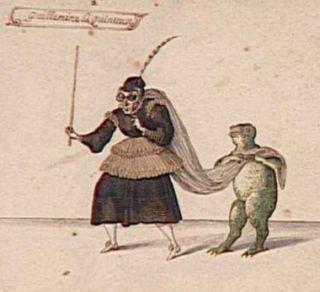 Guillemine-la-Quinteuse et une grenouille