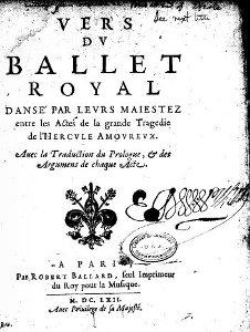 Ercole amante - livret des Vers du Ballet