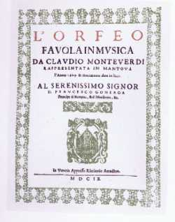 Partition de l'Orfeo - Venise - 1609