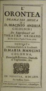 Orontea - livret de 1666