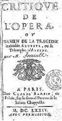 Critique de l'opéra ou Examen de la tragédie intitulée Alceste ou le Triomphe d'Alcide - Charles Perrault