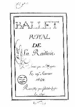 Ballet de la Raillerie - partition Philidor
