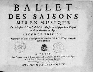 Ballet des Saisons - partition - réédition de 1700