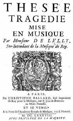 Thésée - édition C. Ballard - 1688